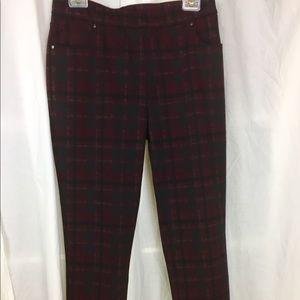 Susan Graver Pants - Susan Graver plaid French knit pull-on pants S